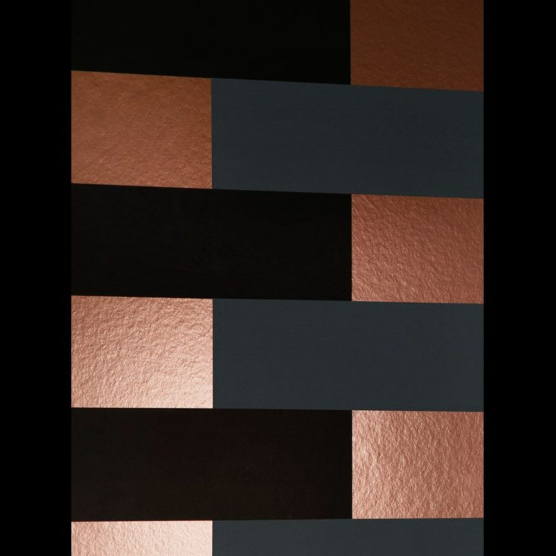Copper and black wallpaper | Block copper burnish grey black wallpaper