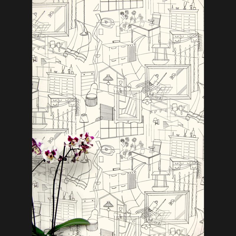 Illustrated wallpaper | Homes black cream | Erica Wakerly